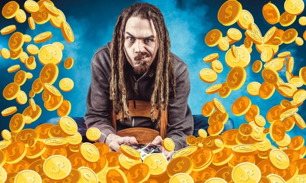 man with coins falling around him