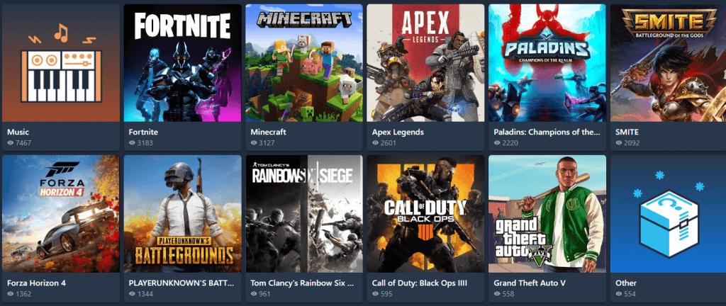 mixer categories games