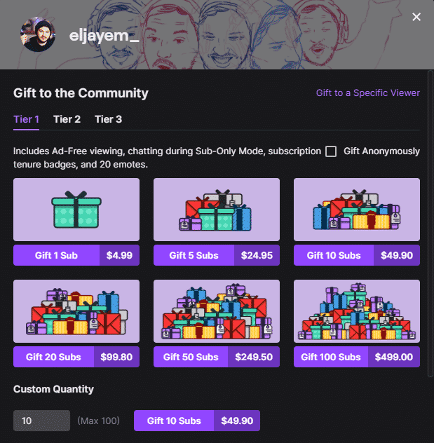 gift a sub to Eljayem's channel