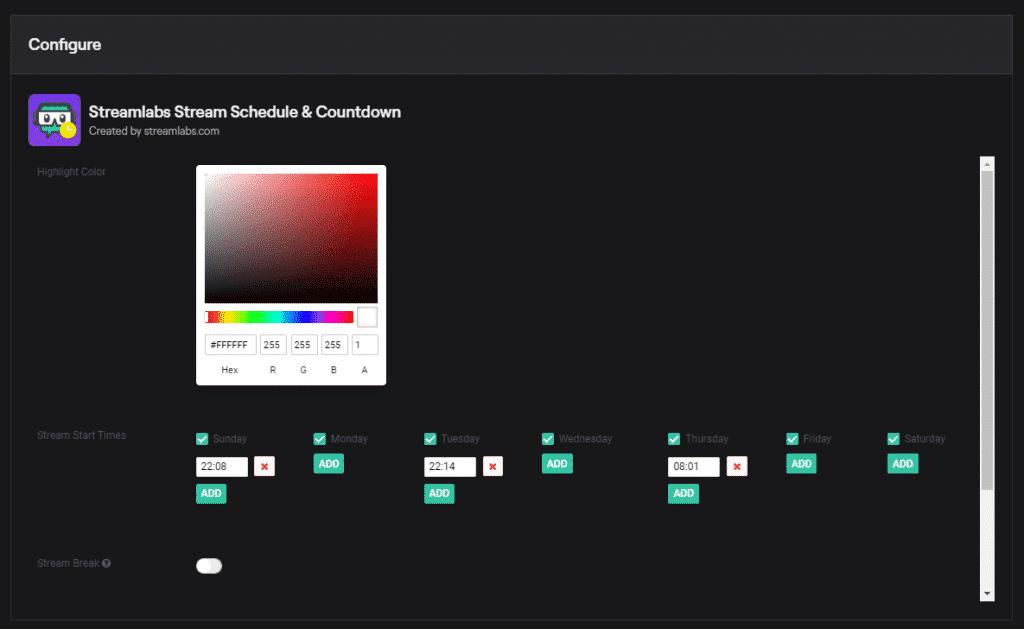 streamlabs schedule setup