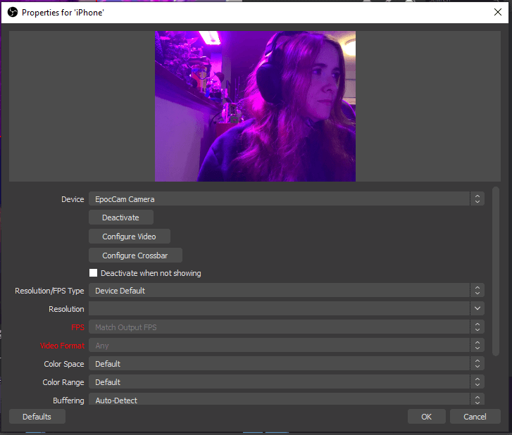 settings OBS webcam