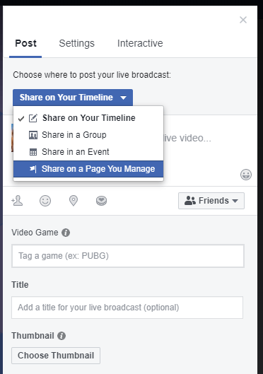 set up facebook gaming screen