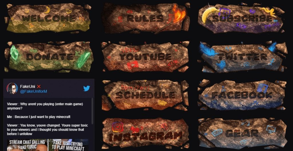 Fakeuniform's twitch panels
