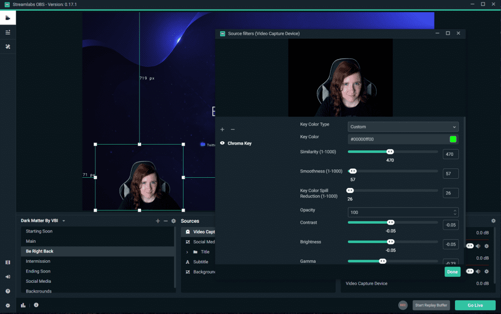 streamlabs obs green screen