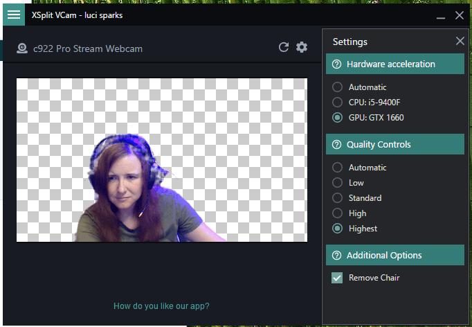 XSplit Vcam background no chair