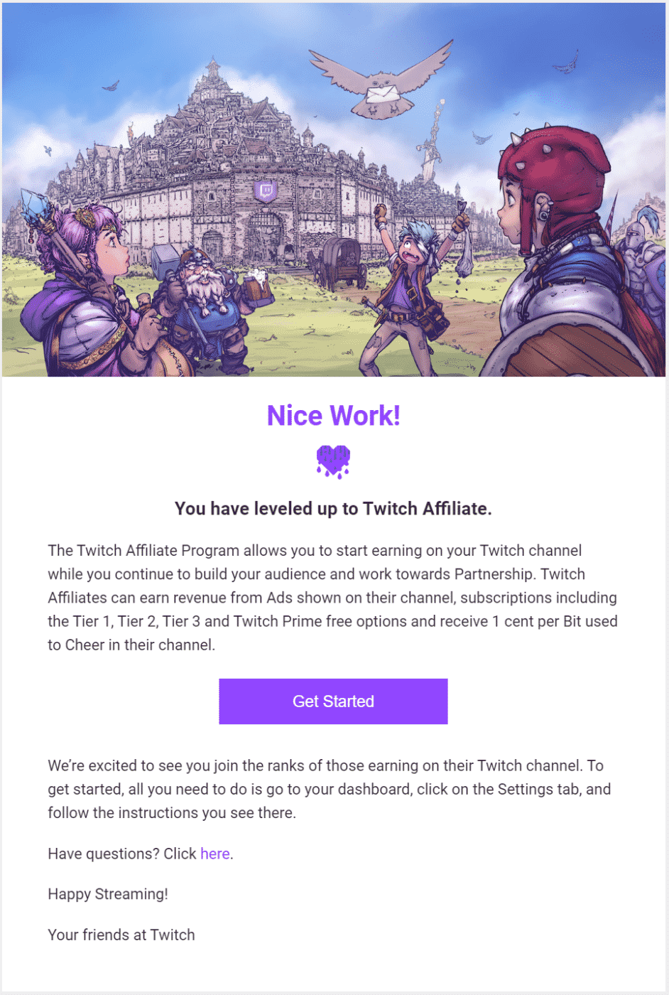Twitch Affiliate Invite Email