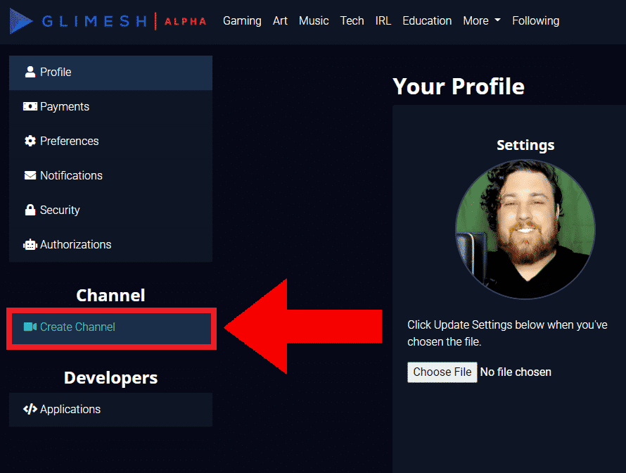 Glimish channel create channel