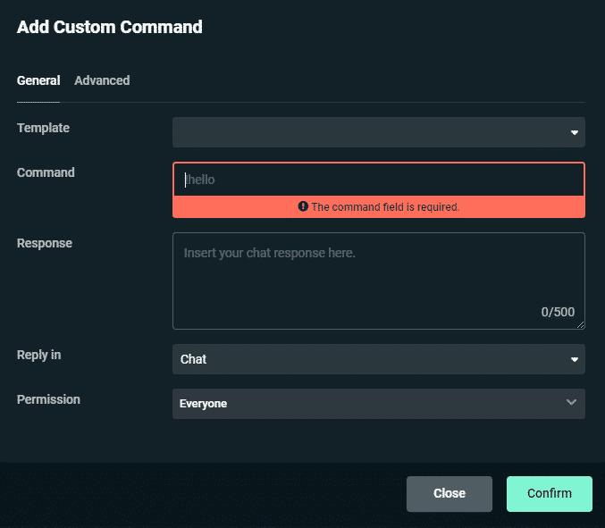 Streamlabs add custom command