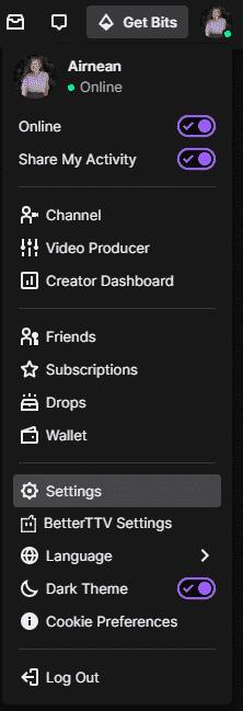 twitch settings