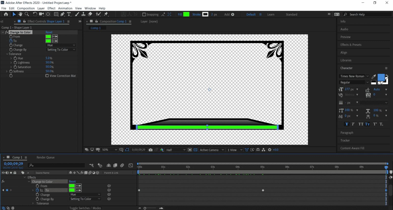 animated overlay comp 1 shape layer 1 time adjustment