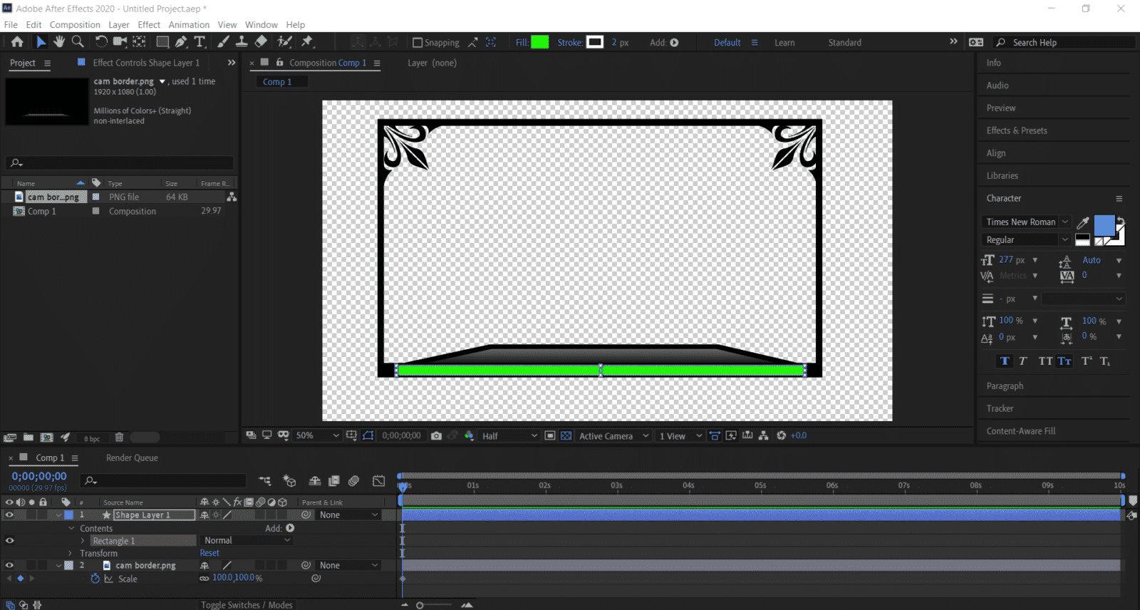 animated overlay shape layer color change green