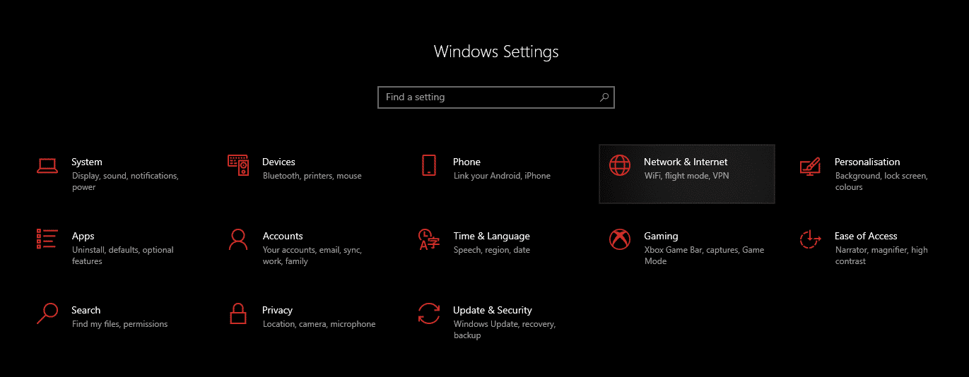 window settings network and internet