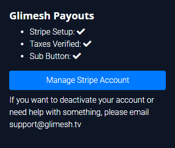 Glimesh Payouts Manage Stripe Account