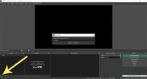 OBS scenes frame + button