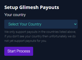 Setup Glimesh Payouts Select your country