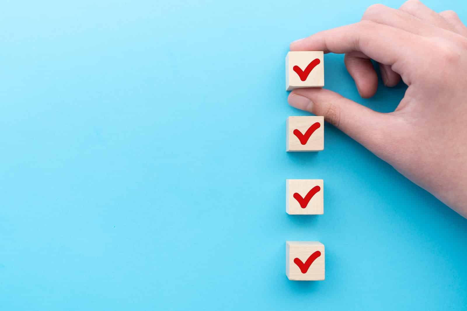 Red tick marking on checklist