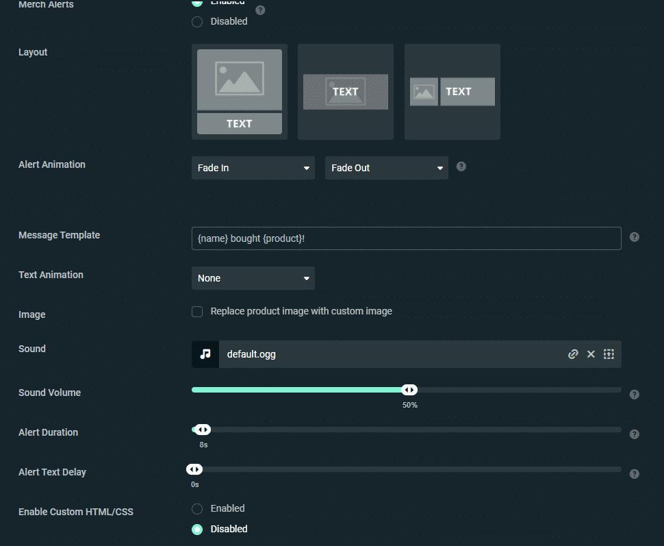 streamlab Alertbox settings