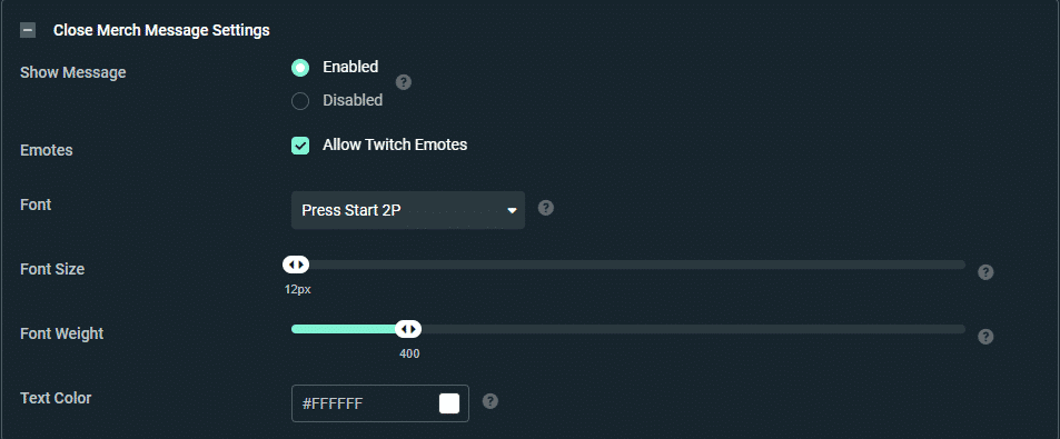 streamlabs Message settings