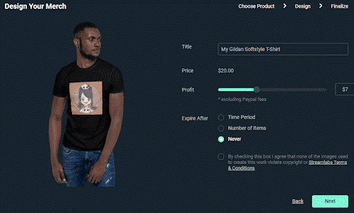 streamlabs design your merch title