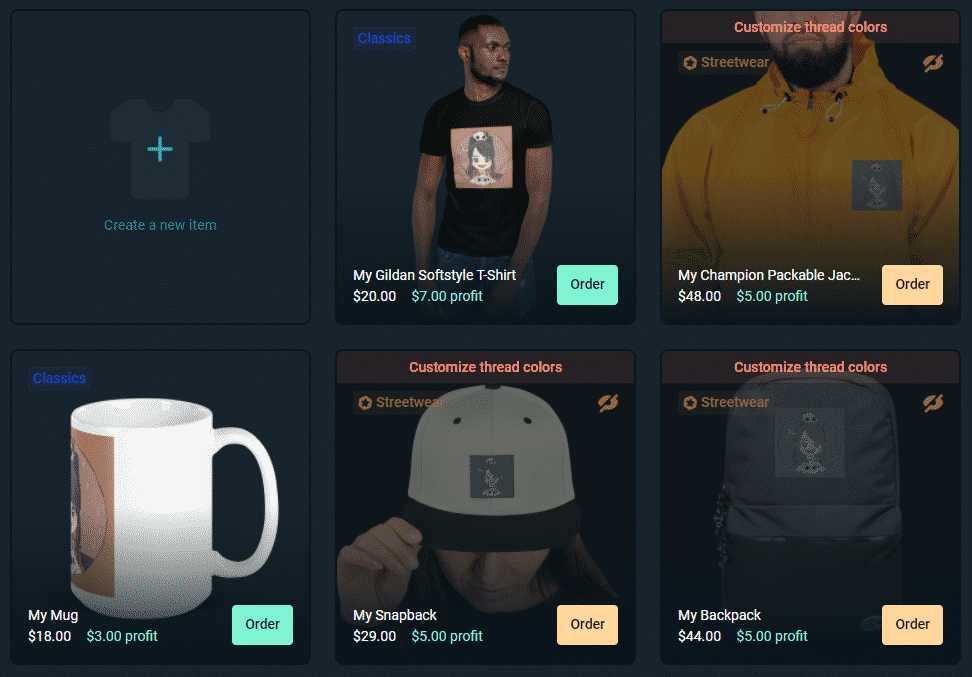 streamlabs merch store product options