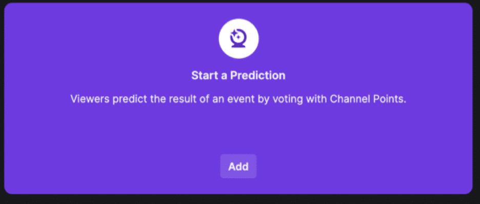twitch start a prediction add button