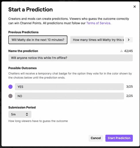 twitch start a prediction form
