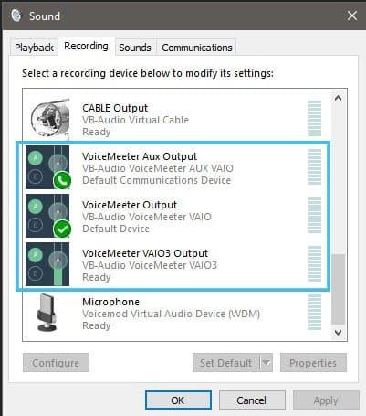 windows sound settings voicemeeter 2