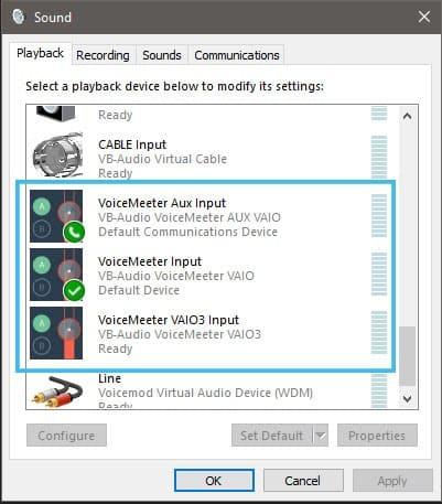 windows sound settings voicemeeter