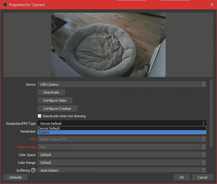 laptop camera resolution adjustment