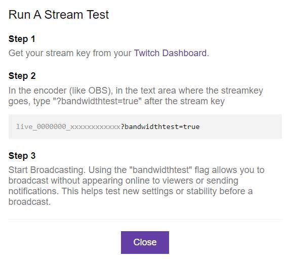 run a stream test