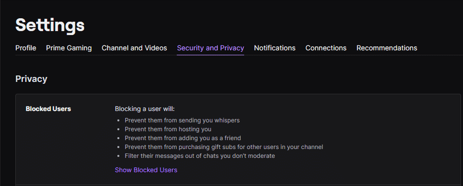 twitch security and privacy Blocked users