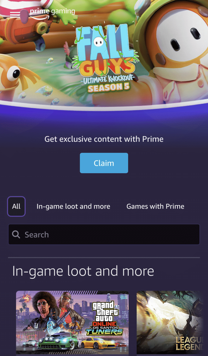 Prime Gaming Page Screenshot